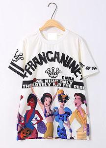 ...原宿风英文皇冠卡通白雪公主宽松短袖T恤-迪士尼白雪公主书包