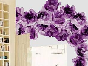 手绘紫色花卉花藤田园客厅电视背景墙图片设计素材 高清模板下载 76....