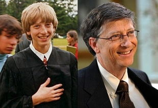 ... Gates)年轻时的照片(左)与近照(右)-中外互联网大佬们年轻时...