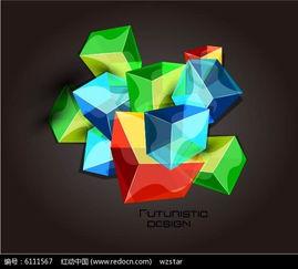 艺术彩色方块图案素材EPS免费下载 红动网