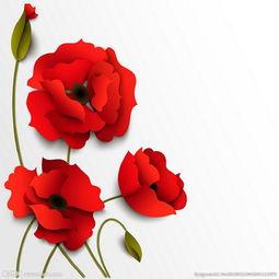 ...量 红色花朵 剪纸花图片
