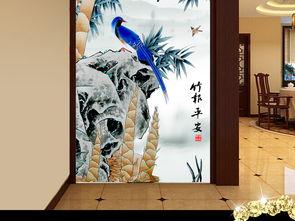 竹报平安水彩竹子花鸟中式玄关画