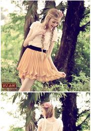 森林里的秘密 2013夏装新款木耳边腰部松紧 雪纺拼接褶皱连衣裙