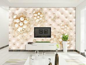 立体软包欧式奢华珠宝花朵3D电视背景墙