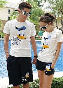 2014#韩版夏季新品情侣装短袖唐老鸭T恤套装 6018#-鸭鸭服饰