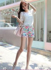 韩式超短裤图片 高腰显瘦打造长腿美女