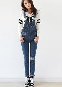 2014秋季新品破洞牛仔裤小脚裤连体裤背带裤