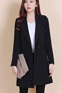 ...款韩版百搭黑色中长款西装外套