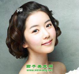 中式大脸短发新娘发型图片