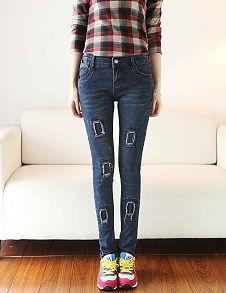 秋款新品破洞贴布小脚牛仔铅笔裤-指甲金属贴