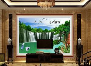 客厅电视背景墙瓷砖背景墙锦秀山河