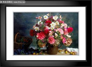 ...材描述: 高清静物花卉装饰画 黑白 画框 花卉 餐厅静物装饰画 高清 ...