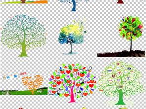 手绘卡通创意树木爱心树png背景免扣素材
