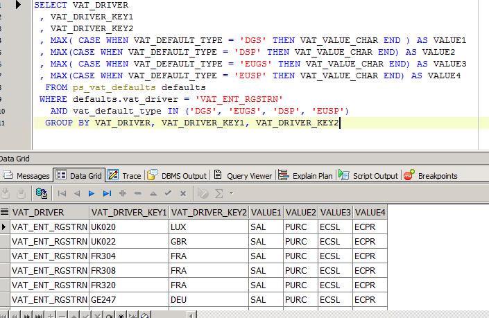 Oracle 多行变一列的方法