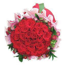 狂盟-玫瑰百合鲜花 中花盟 永生永世 33朵优质红玫瑰圣诞节狂欢... 19朵白玫...