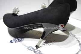 ...钻球 尖头浅口高跟鞋 绒布面水钻细跟女单鞋