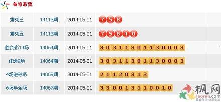 中国体彩11选5是哪年发行-...14年5月1日中国体育彩票开奖公告 图文