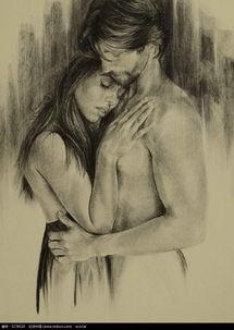 情侣拥抱写真 素描图片 书画文字图片 红动手