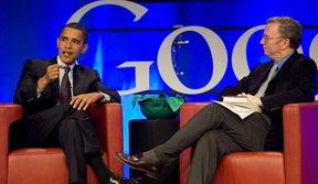 ...人奥巴马(左)访问谷歌总部时,接受谷歌CEO施密特(右)提问-...
