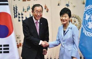 2015年5月20日,韩国首尔,联合国秘书长潘基文与韩国总统朴槿惠会...