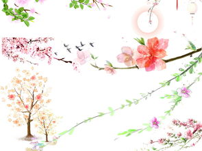 唯美古风水彩手绘粉色桃花桃树PNG素材图片 模板下载 187.82MB 花...
