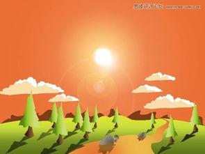 ...oshop绘制卡通风格的野外风景插画