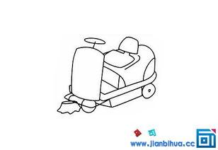 儿童简笔画扫路车的简笔画图片(三)环保人员们每天开车扫路车清...