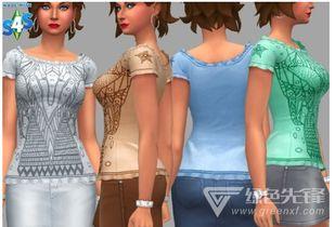 模拟人生4克莱尔时尚图案上衣MOD(模拟人生4服装mod)是来自网...