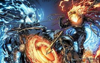个则是骑着火焰哈雷的骷髅人造型... 恶灵骑士,原是一名摩托车特技车...
