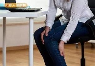坐在椅子上(或弯下腰),用手掌去拍打后膝窝的正中点—委中穴.-...
