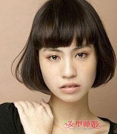 方脸头发少女生齐刘海内扣短发-头顶头发少方形脸适合什么发型 头发...
